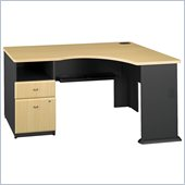 Bush Series A Expandable Single Pedestal Corner Desk in Beech/Slate