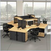 Bush Series A 42W Corner Desk with Overhead in Beech/Slate
