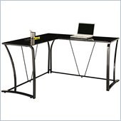 Bush Myspace Lucido Metal & Glass L-Desk in High Gloss Black Finish
