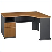 Bush Series A Expandable Single Pedestal Corner Desk in Natural Cherry