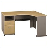 Bush Series A Expandable Single Pedestal Corner Desk in Light Oak