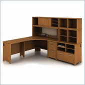 Bush Envoy L-Shaped Desk Configuration in Natural Cherry