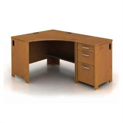 Bush Envoy Corner Desk and File Pedestal in Natural Cherry