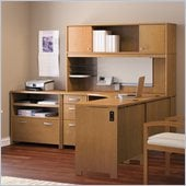 Bush Envoy L-Shaped Office Suite in Natural Cherry