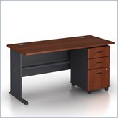 Bush Series A 60 Wood Credenza Desk with 3-Drawer File Cabinet in Hansen Cherry