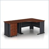 Bush Series A 3-Piece Wood Corner Computer Desk in Hansen Cherry