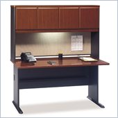 Bush Series A 60 Wood Credenza Desk with Hutch in Hansen Cherry