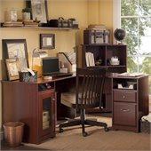 Bush Cabot 60 L-Shaped Computer Desk in Harvest Cherry