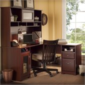 Bush Cabot 60 L-Shaped Computer Desk with Hutch in Harvest Cherry