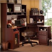 Bush Cabot 60 L-Shaped Computer Desk with Hutch and Bookcase in Harvest Cherry