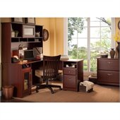 Bush Cabot 60 L-Shaped Computer Desk with Hutch and File Cabinet in Harvest Cherry