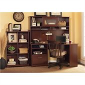 Bush Cabot 60 Corner Computer Desk with Hutch and Bookcase in Harvest Cherry