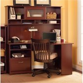 Bush Cabot 60 Corner Computer Desk with Hutch in Harvest Cherry