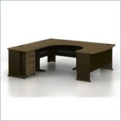 Bush Series A 4-Piece U-Shaped Left-Hand Computer Desk in Sienna Walnut