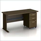 Bush Series A 60 Desk with 3-Drawer Filing Cabinet in Sienna Walnut