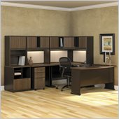 Bush Series A 8-Piece U-Shaped Computer Desk in Sienna Walnut