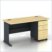 Bush Series A 60 Wood Computer Desk with 3-Drawer File Cabinet in Beech