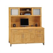 Bush Somerset 60 Computer Credenza with Hutch in Maple Cross