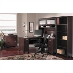 Bush Tuxedo 4-Piece L-Shape Computer Desk Set in Mocha Cherry