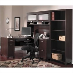 Bush Tuxedo 3-Piece L-Shape Computer Desk Set in Mocha Cherry
