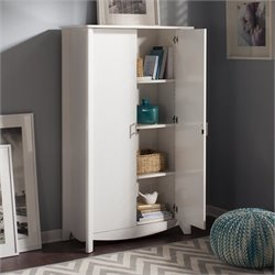 Bush  Furniture Aero 2-Door Tall Storage in Pure White