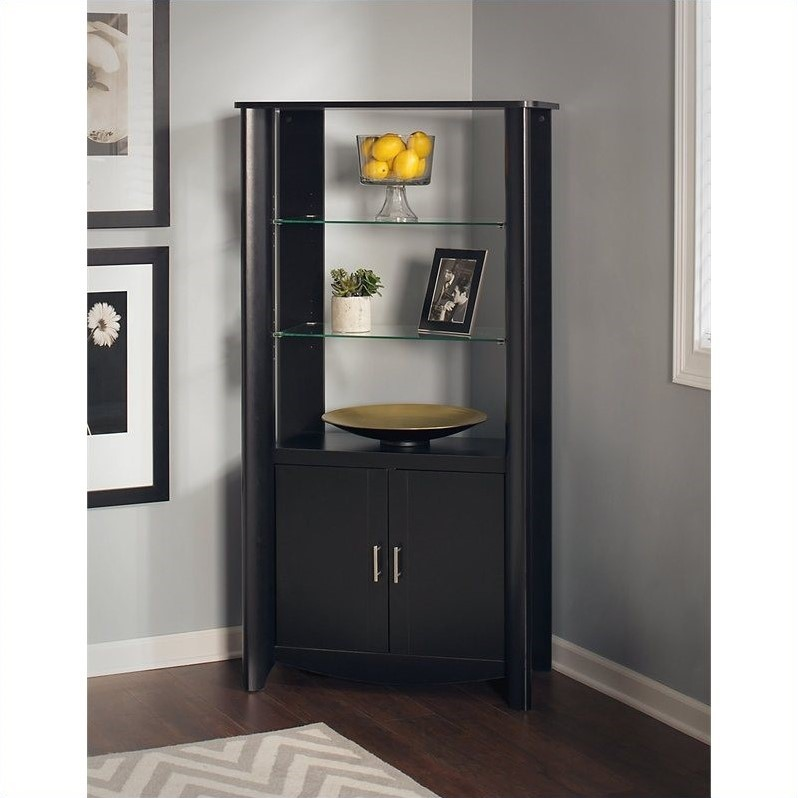 Furniture Aero 2-Door Tall Library Storage in Classic Black