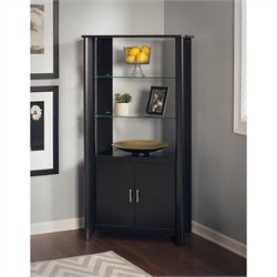 Bush  Furniture Aero 2-Door Tall Library Storage in Classic Black