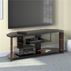 Bush Segments TV Stand in Cherry and Black