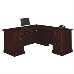 Bush Bennington 71W L-Desk in Mocha Cherry