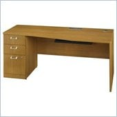 Bush Quantum 72 Left Wood Desk with Pedestal in Modern Cherry