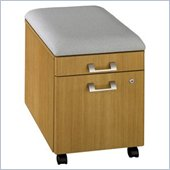 Bush Quantum Modern Mobile 2 Drawer Wood Pedestal Vertical File Cabinet  with Cushion in Cherry