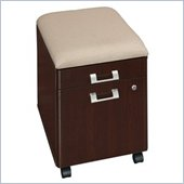Bush Quantum 2 Drawer Mobile Wood File Storage Pedestal with Cushion in Harvest Cherry