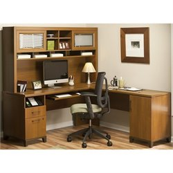 Bush Achieve L Shape Home Office Desk with Hutch in Warm Oak