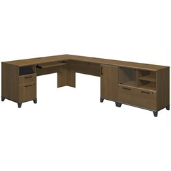 Bush Achieve 2 Piece L Shape Desk Office Set in Warm Oak