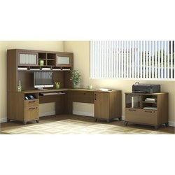 Bush Achieve 3 Piece L Shape Desk Office Set in Warm Oak