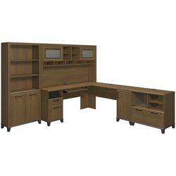 Bush Achieve 4 Piece L Shape Desk Office Set in Warm Oak