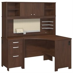 Bush Envoy Corner Computer Desk with Hutch in Hansen Cherry