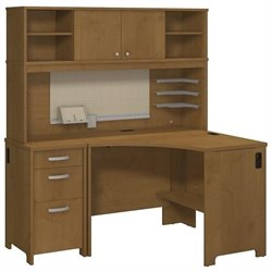 Bush Envoy Corner Computer Desk with Hutch in Natural Cherry