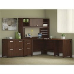 Bush Envoy 3 Piece Corner Desk Office Set in Hansen Cherry