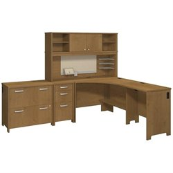 Bush Envoy 3 Piece L-Shaped Desk Office Set in Natural Cherry