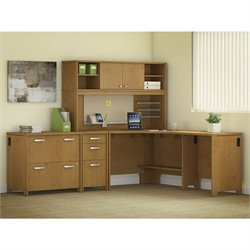 Bush Envoy 3 Piece Corner Desk Office Set in Natural Cherry