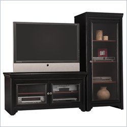 Bush Stanford Collection TV Stand and Audio Rack in Antique Black