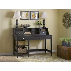 Bush Broadview Open Storage Desk with Organizer in Espresso Oak
