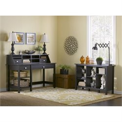 Bush Broadview Desk with 6 Shelf Bookcase in Espresso Oak