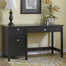 Bush Broadview Single Pedestal Desk in Espresso Oak