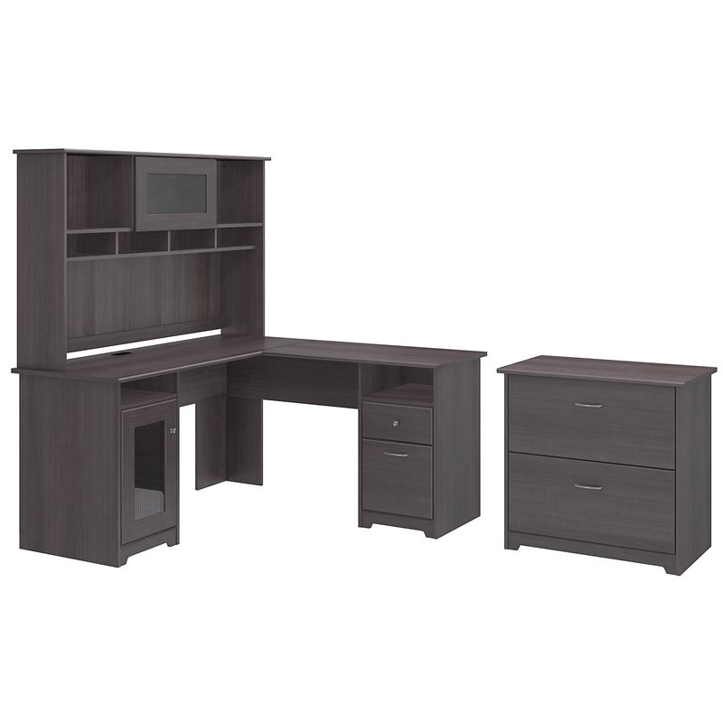 Cabot L Shaped Desk with Hutch and Lateral File Cabinet in Gray