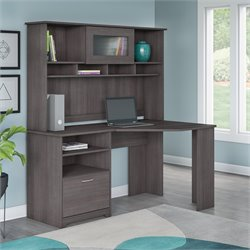 Bush Cabot Corner Desk with Hutch in Heather Gray