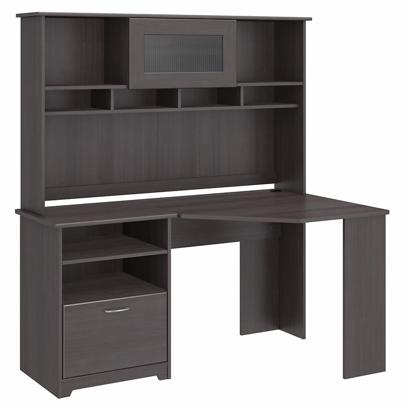 Furniture Cabot Corner Desk with Hutch in Heather Gray
