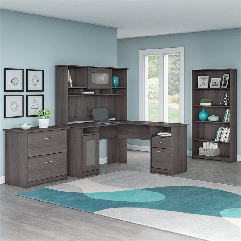 Cabot 3 Piece Office Set in Heather Gray