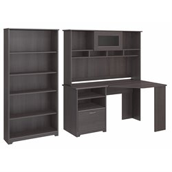 Bush Cabot Corner Desk with Hutch and 5 Shelf Bookcase in Heather Gray